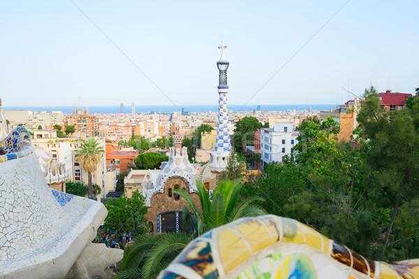 Park Barcelona stadsgezicht zee gebouw natuur Stockfoto © neirfy