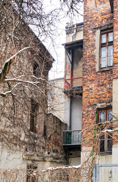Edad ladrillo casas cracovia barrio antiguo Polonia Foto stock © neirfy