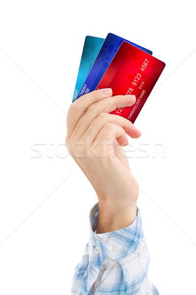 El kredi kartları yalıtılmış beyaz iş Stok fotoğraf © neirfy