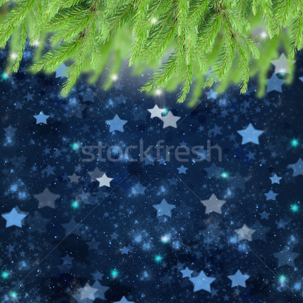 christmas background with fir traa and stars Stock photo © neirfy