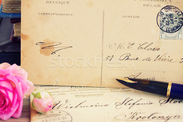 antique empty postcard with flowers and quill pen Stock photo © neirfy