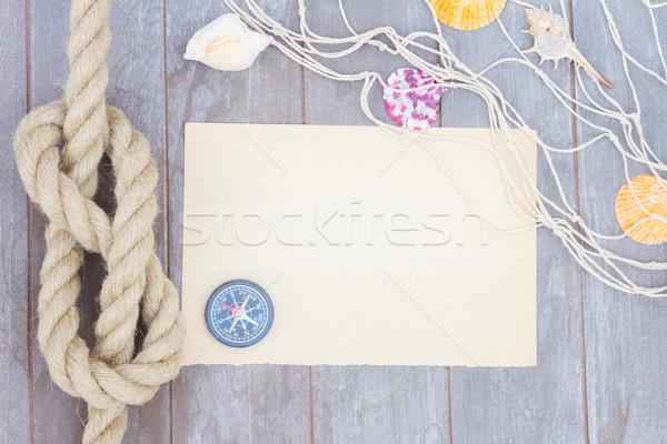 Deniz düğüm kâğıt ahşap Stok fotoğraf © neirfy