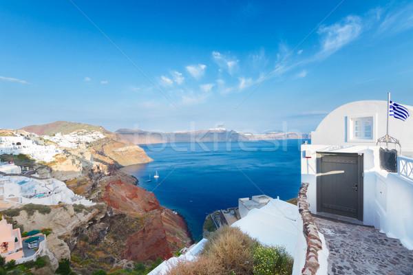Vista volcán santorini casas isla Grecia Foto stock © neirfy