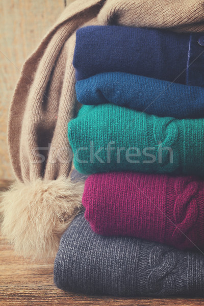 Set Wolle Kleidung gefaltet grau Stock foto © neirfy