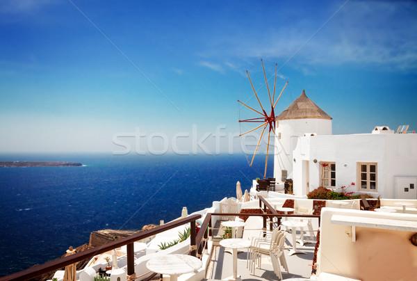 Szélmalom Santorini napos idő sziget Görögország retro Stock fotó © neirfy