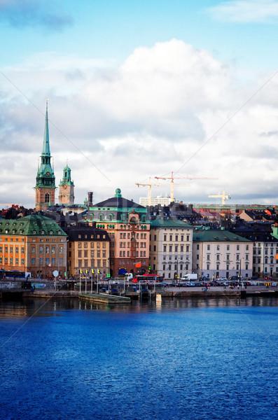 Sziluett Stockholm Svédország óváros vízpart hajók Stock fotó © neirfy