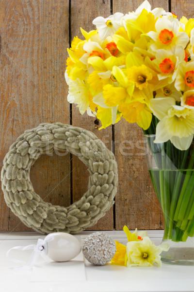 Easter catkins wreath Stock photo © neirfy