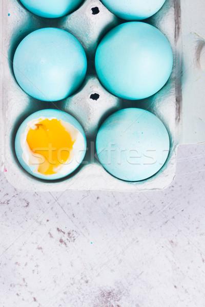 набор синий пасхальных яиц один желток Top Сток-фото © neirfy