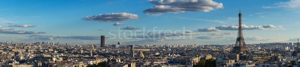 Eiffel turné Párizs városkép panoráma híres Stock fotó © neirfy