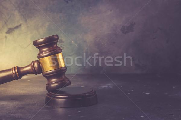Droit justice marteau gris rétro livre Photo stock © neirfy