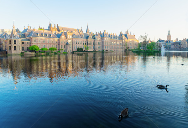 Nederlands parlement holland vijver Stockfoto © neirfy