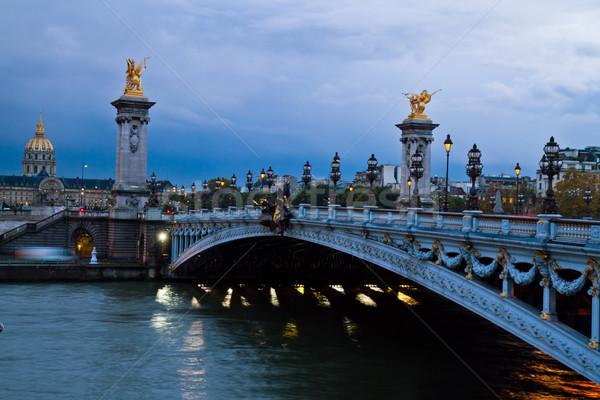 Stok fotoğraf: Köprü · Paris · Fransa · şafak · seyahat · lamba