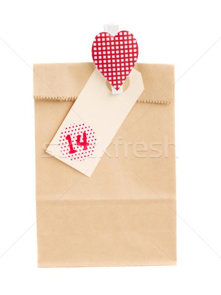Torby papierowe dar walentynki odizolowany biały tle Zdjęcia stock © neirfy