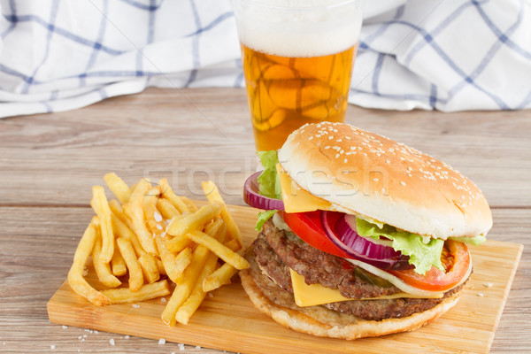 Burger with french fries and beer Stock photo © neirfy