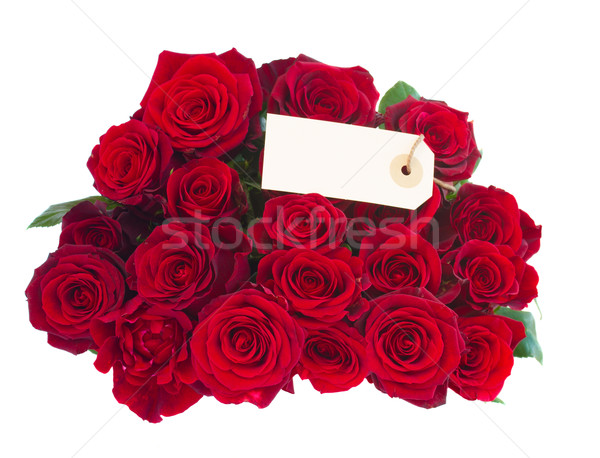 bouquet of dark  red roses with tag Stock photo © neirfy