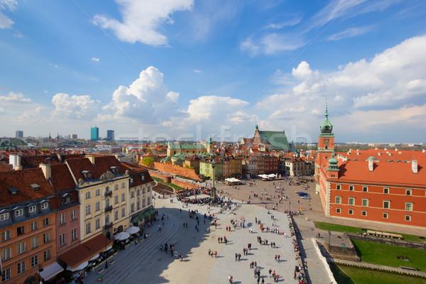 Oude binnenstad vierkante Warschau Polen skyline Stockfoto © neirfy