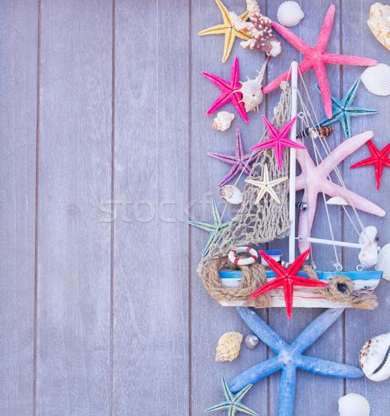 Starfish barca marine vita conchiglie legno Foto d'archivio © neirfy
