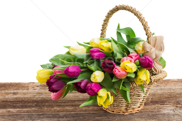 Photo stock: Bouquet · jaune · pourpre · tulipe · fleurs