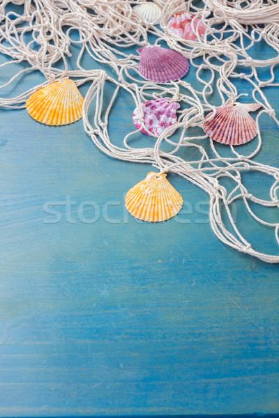 漁網 木製 海 シェル 青 コピースペース ストックフォト © neirfy