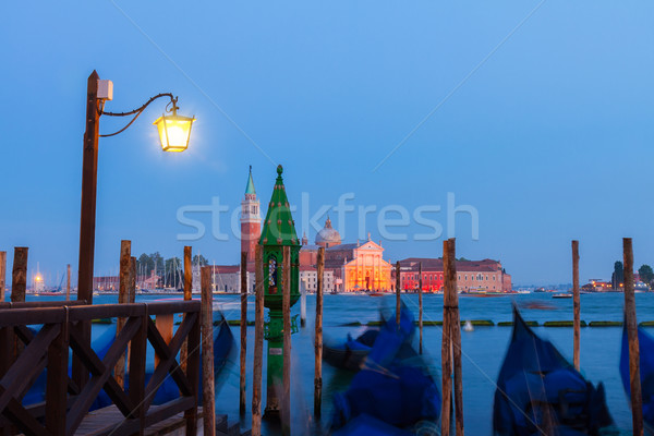 Gondolas floating in the Grand Canal at night, Venice Stock photo © neirfy