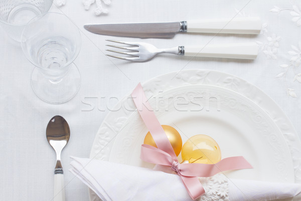 Tableware set for christmas Stock photo © neirfy