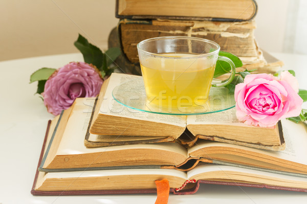 Fincan çay kitaplar cam eski gül Stok fotoğraf © neirfy