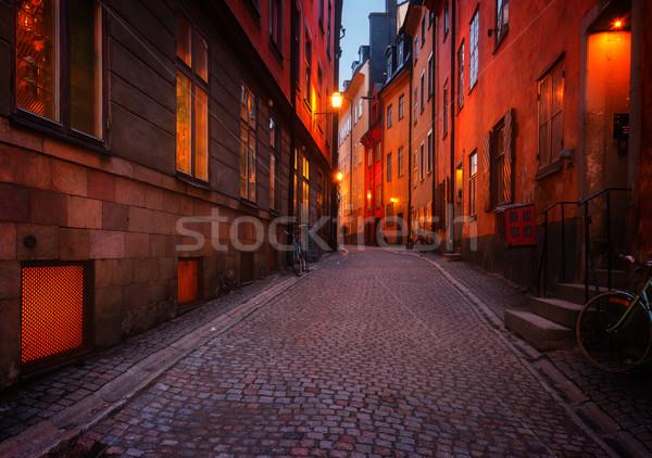 Gece Stockholm sokak İsveç Retro Stok fotoğraf © neirfy
