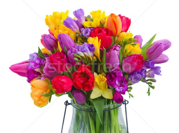 букет ярко весенние цветы стекла ваза Сток-фото © neirfy