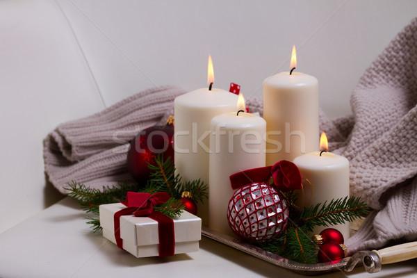 Brucia avvento candele bianco Natale Foto d'archivio © neirfy