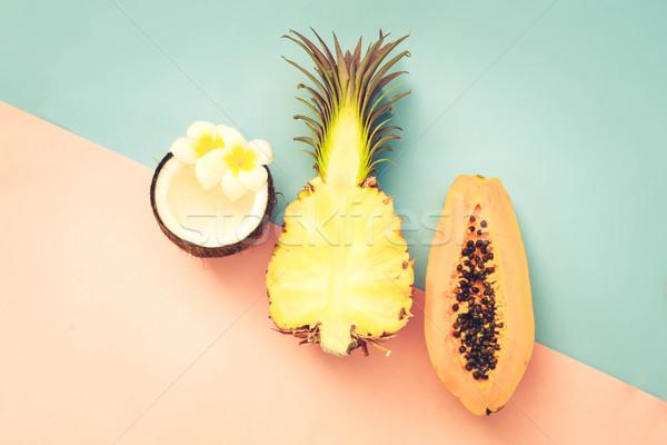 summer fruits, minimal style Stock photo © neirfy