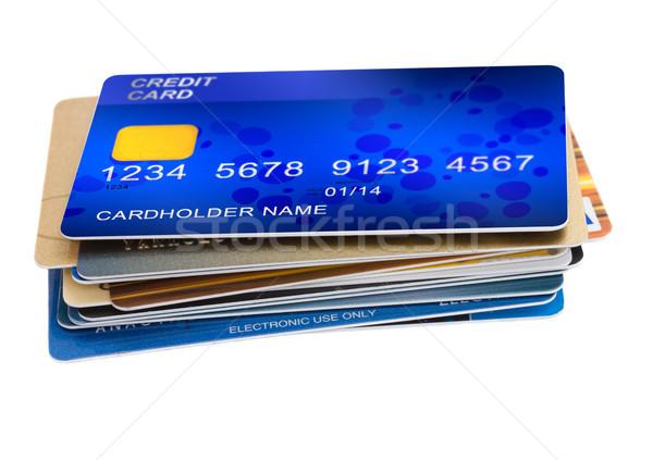 Kredi kartları yalıtılmış beyaz iş alışveriş Stok fotoğraf © neirfy