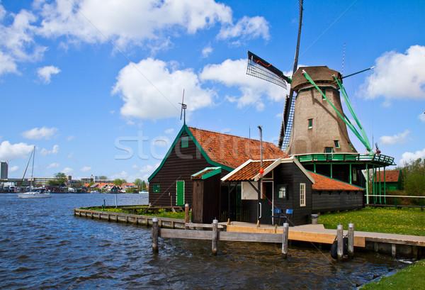 Photo stock: Moulin · à · vent · rivière · eau · herbe · nature