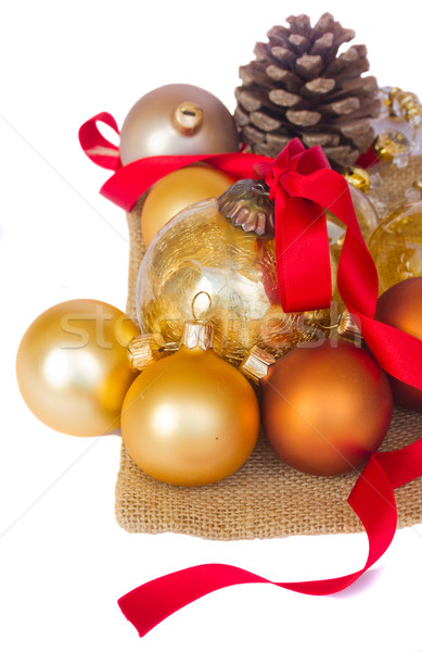 pile of christmas balls and pine cone Stock photo © neirfy
