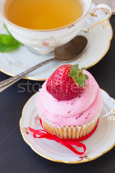 cupcake with strawberry Stock photo © neirfy