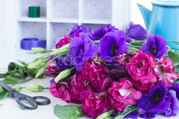 Mor leylak rengi çiçekler taze tablo Stok fotoğraf © neirfy