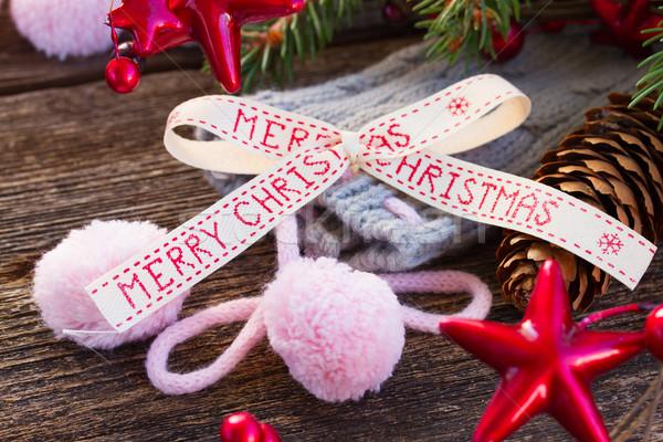 Vrolijk christmas boeg wol sokken evergreen Stockfoto © neirfy