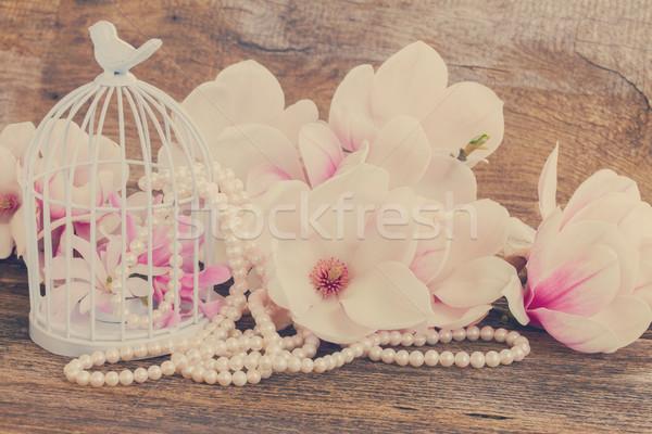 магнолия цветы жемчуга деревянный стол свежие Сток-фото © neirfy