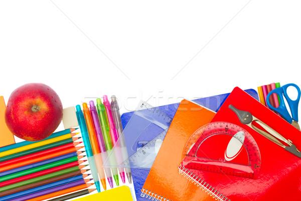 Defter okul malzemeleri elma sınır yalıtılmış beyaz Stok fotoğraf © neirfy
