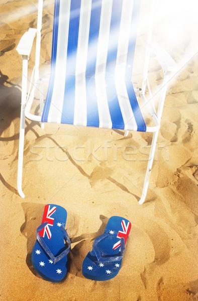 Sandálias verão praia azul arenoso Foto stock © neirfy