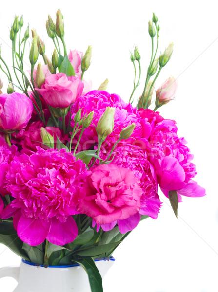 Bright pink peony and eustoma flowers Stock photo © neirfy