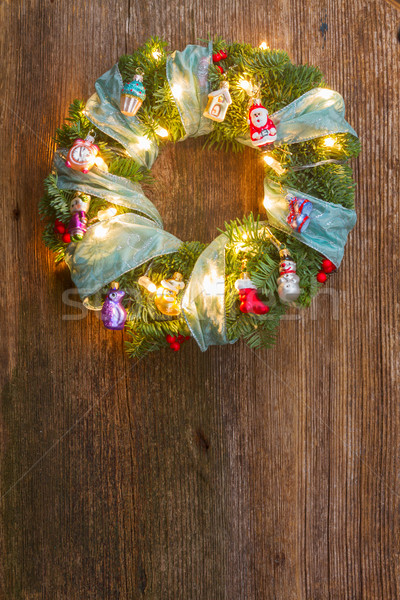 Stock photo: Christmas border with fir tree and lights