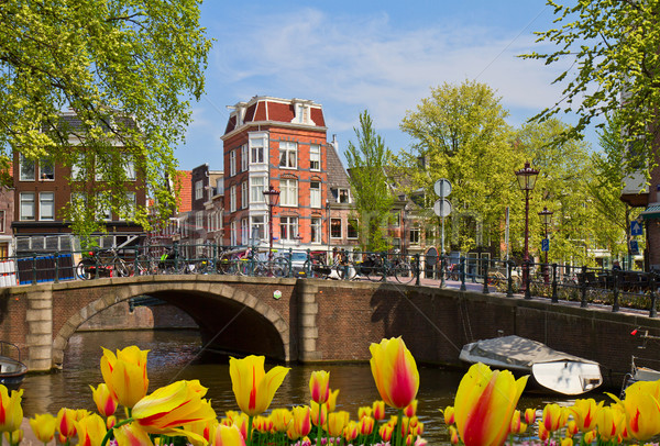 Kanaal ring Amsterdam antieke huis Stockfoto © neirfy