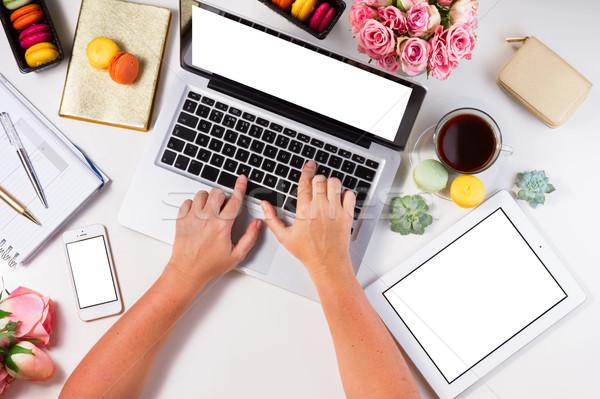 ストックフォト: フェミニン · 作業領域 · 先頭 · 表示 · ノートパソコン · タブレット