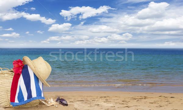 Güneşlenme saman çanta plaj havlusu Stok fotoğraf © neirfy