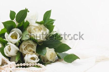 Różowy pomarańczowy róż koronki biały świeże Zdjęcia stock © neirfy