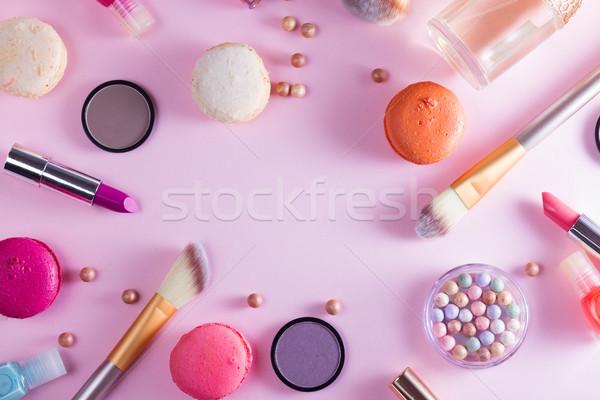 Stok fotoğraf: Makyaj · ürünleri · çerçeve · pembe · kadın · yüz