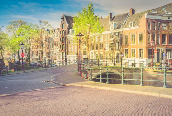 Casas Holanda rua cidade velha histórico primavera Foto stock © neirfy