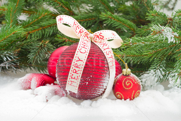 Сток-фото: красный · Рождества · снега · мяча · лук