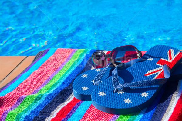 Serviette sandales piscine cool bleu eau Photo stock © neirfy