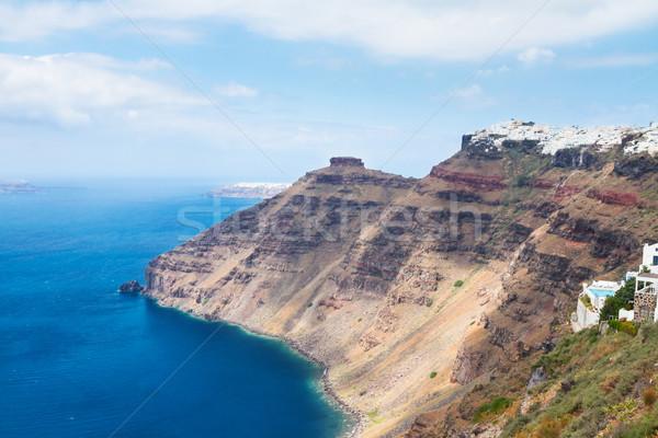 Santorini sziget tenger tájkép Görögország égbolt Stock fotó © neirfy